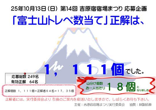 第14回 吉原宿宿場まつり 「富士山トレペ数当て 正解発表」