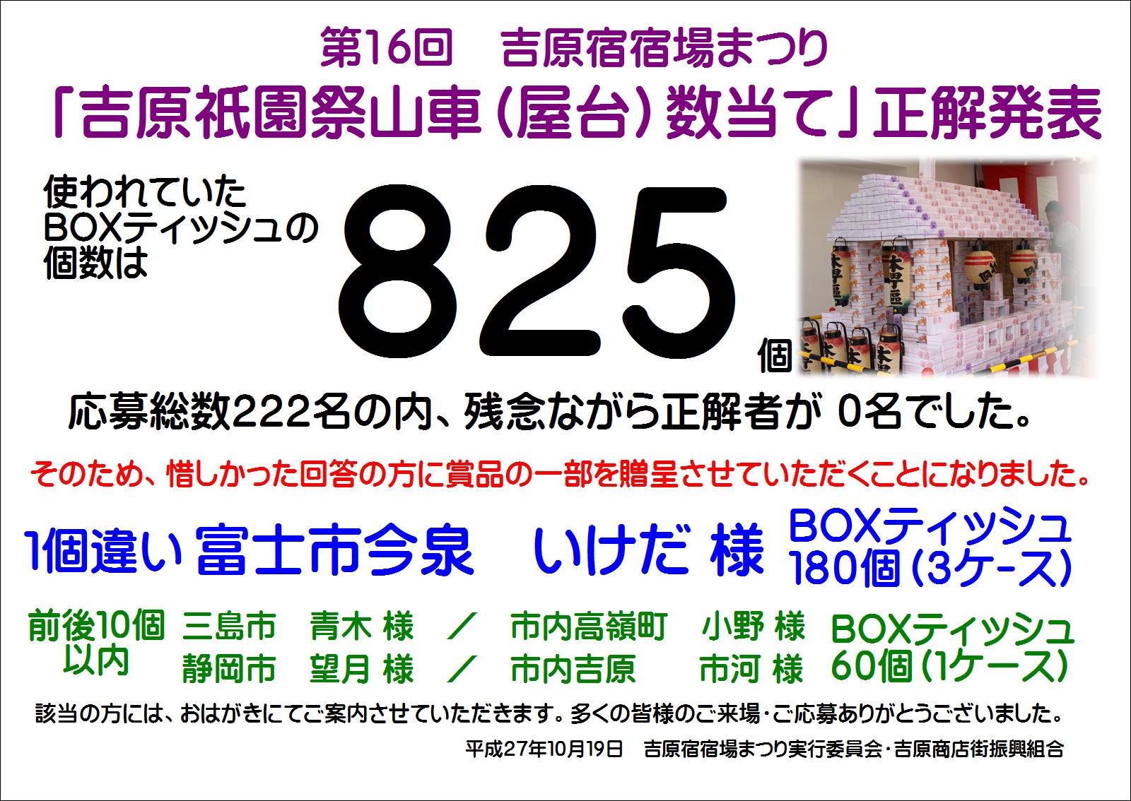 吉原宿宿場まつり 吉原祇園祭山車(屋台)数当てクイズ 正解発表
